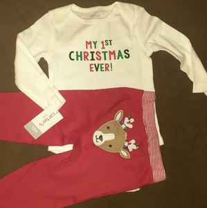 Carters infant first Christmas 2pc outfit